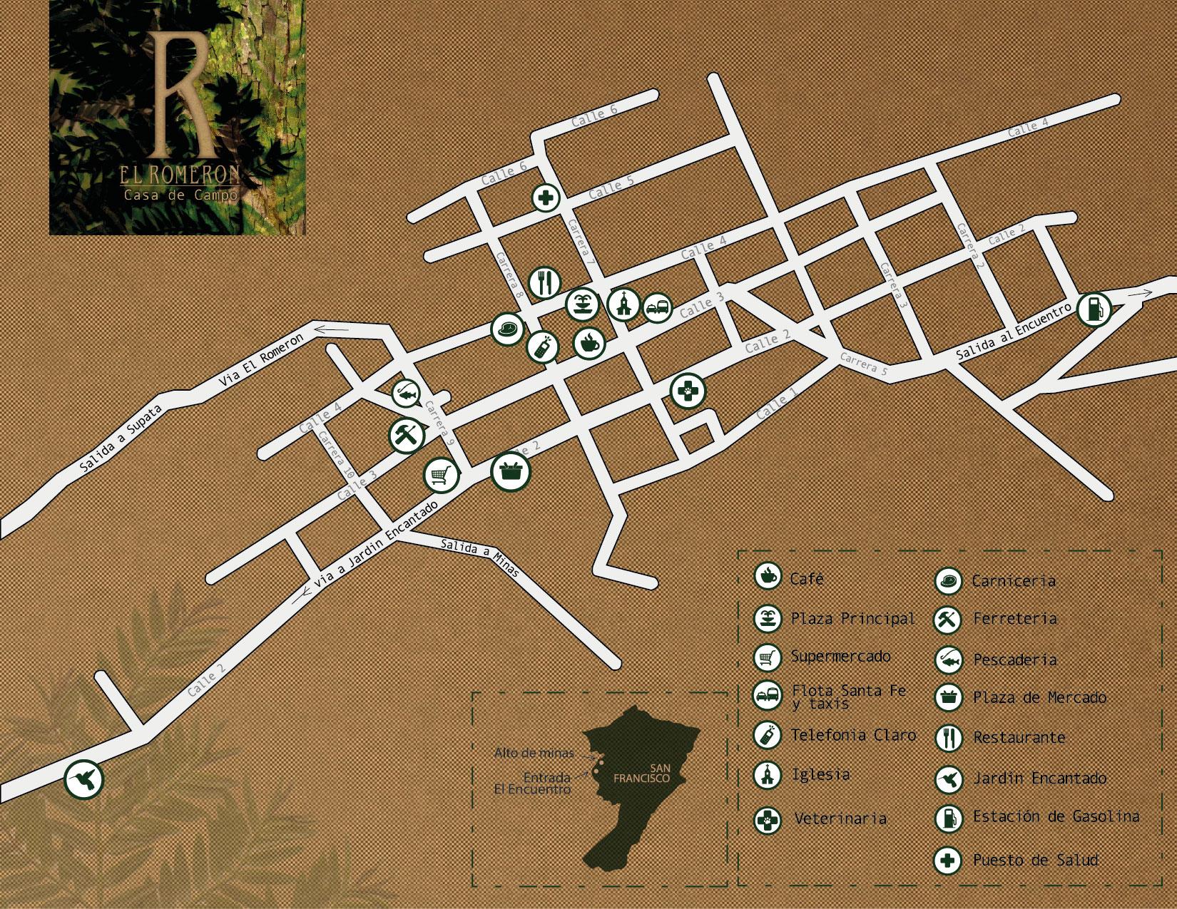 Mapa Con Un Puntero Ubicación: El Romerón